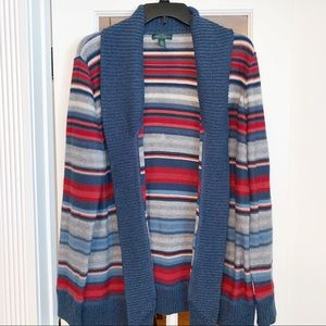 Lauren Jeans Co. Blue and Red Cardigan